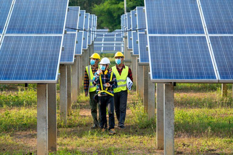 Workers in solar panel field wearing masks