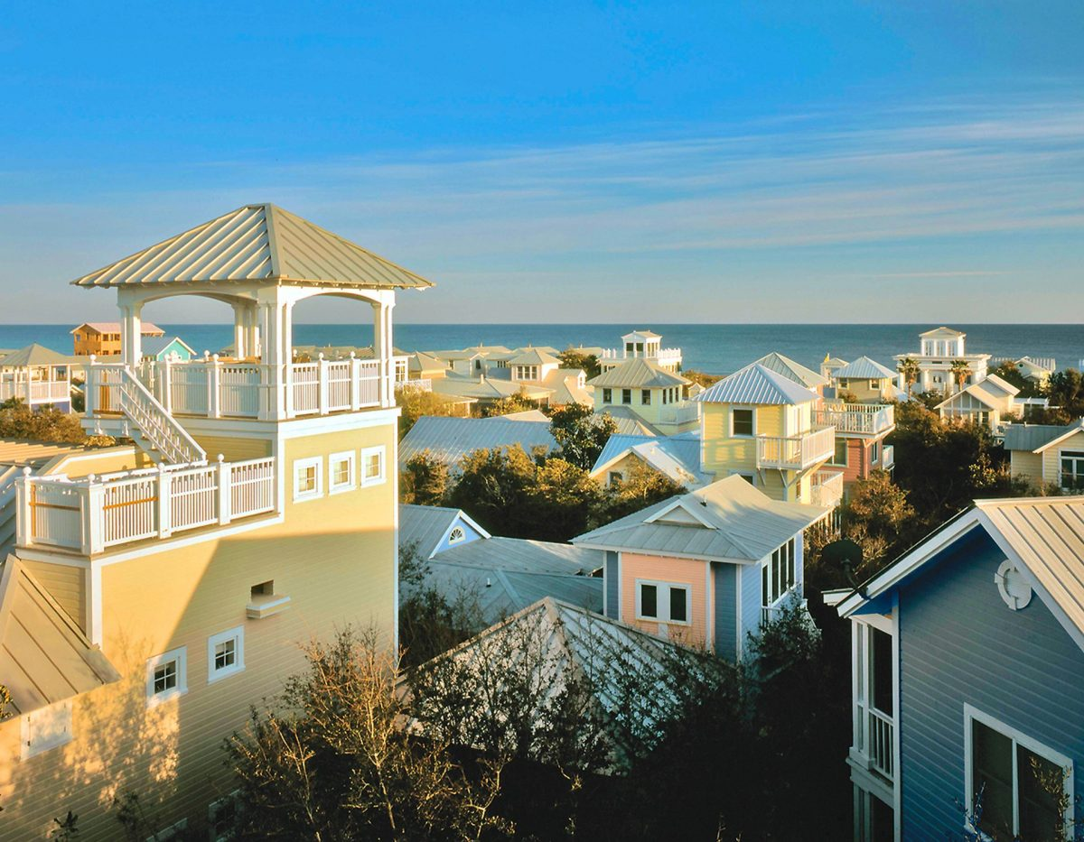 Roof tops in Seaside, Florida overlooking ocean